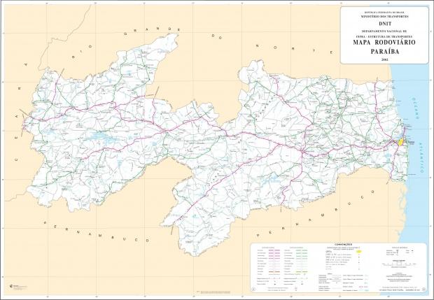 Mapa de Carreteras Federales y Estatales del Edo. de Paraíba, Brasil