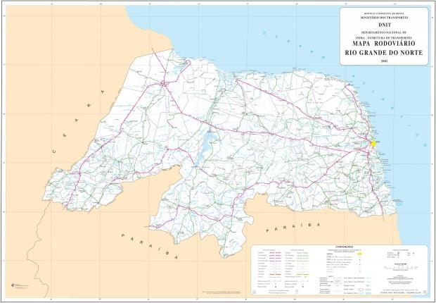 Mapa de Carreteras Federales y Estatales del Edo. de Rio Grande do Norte