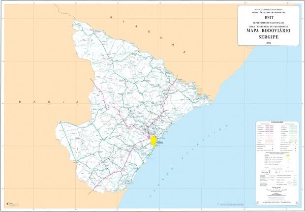 Mapa de Carreteras Federales y Estatales del Edo. de Sergipe, Brasil