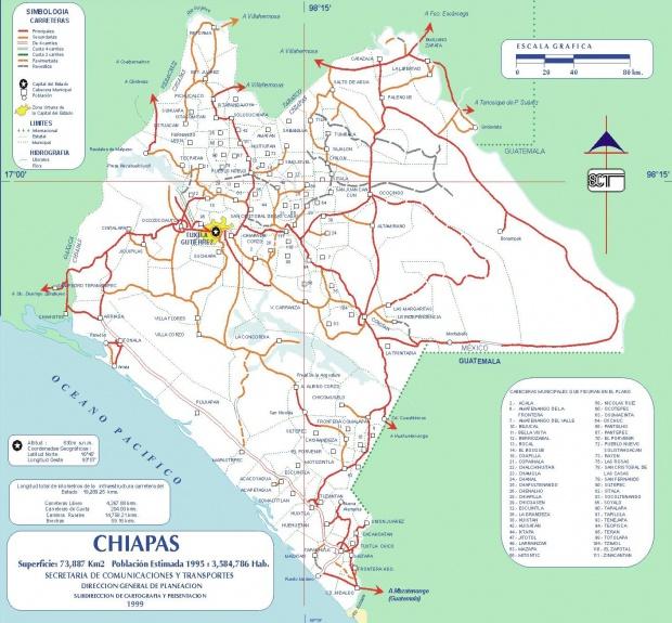 Mapa de Chiapas (Estado), Mexico
