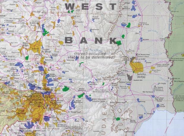 Mapa de Cisjordania Jerusalén y Este (Incluye Jericó)