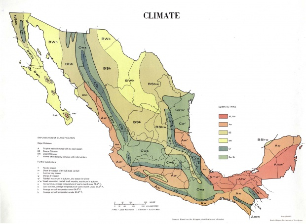 Climate Map, Mexico