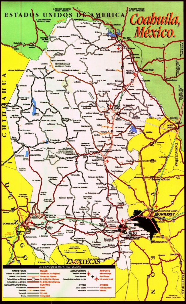Mapa de Coahuila (Estado), Mexico