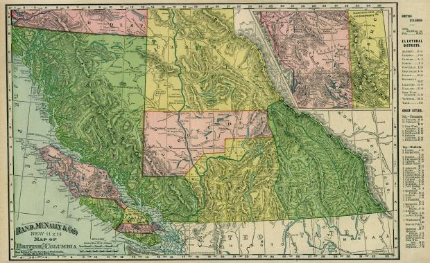 British Columbia Map, Canada 1895