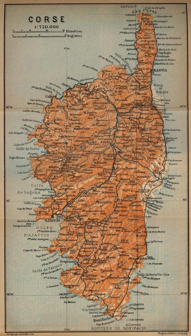 Mapa de Córcega, Francia 1914