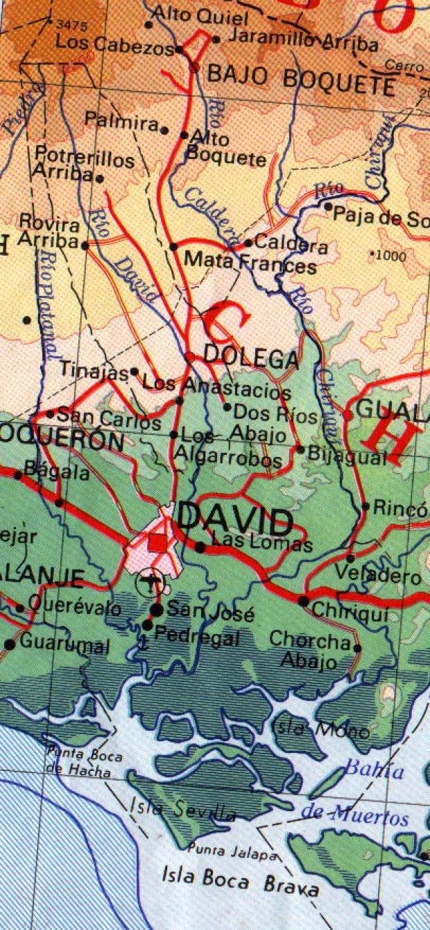 Mapa de David (Region), Panamá