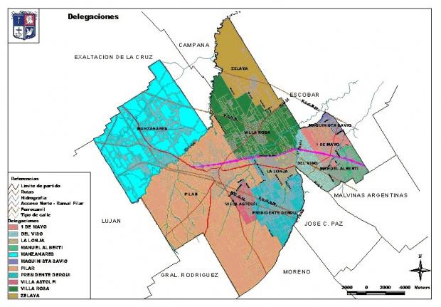 Mapa de Delegaciones de Pilar, Prov. Buenos Aires, Argentina
