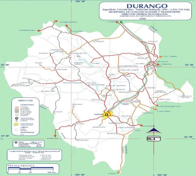 Mapa de Durango (Estado), Mexico