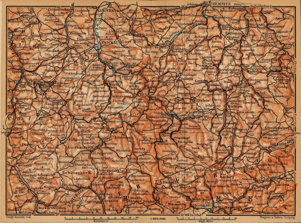 Erzgebirge Map, Germany 1910