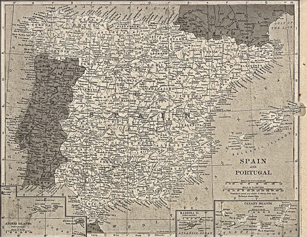 Spain and Portugal Map 1917