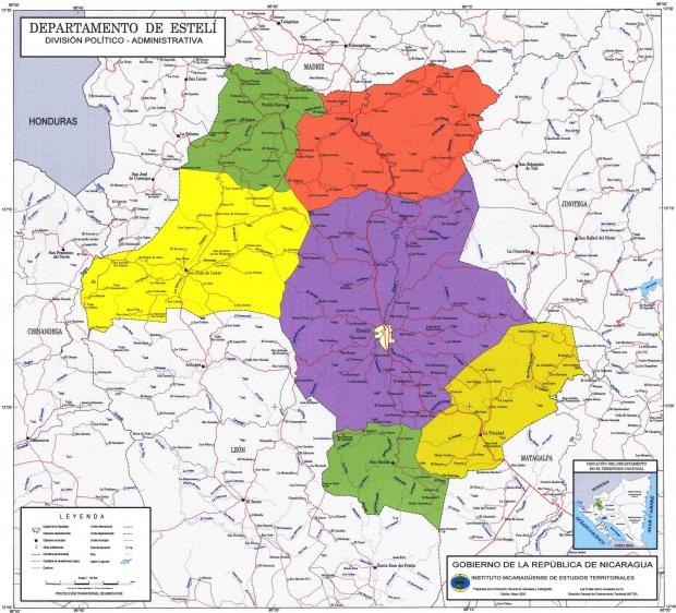 Mapa de Estelí, División Político-Administrativa del Departamento, Nicaragua