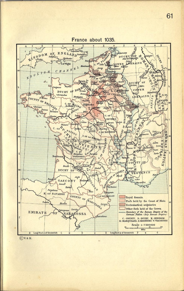 Map of France About 1035