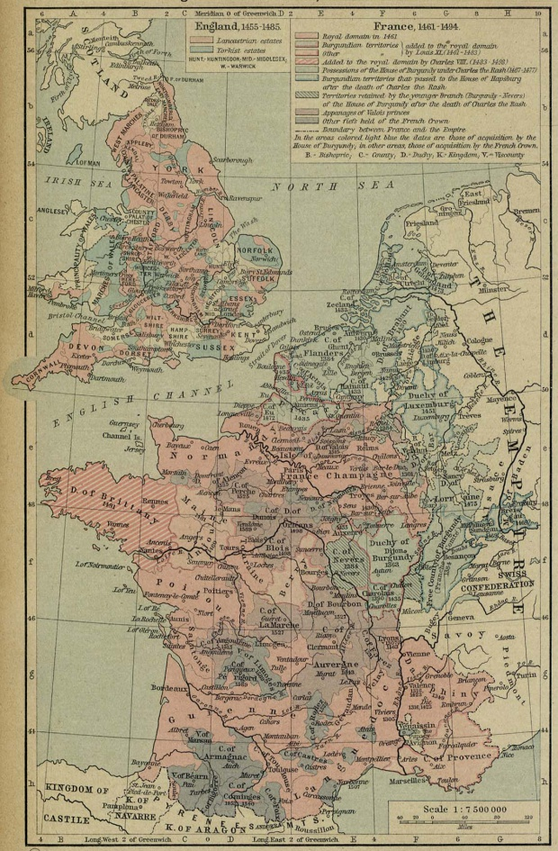 Map of France and England, 1455 - 1494