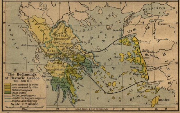 Map of Greece 700 B.C.- 600 B.C.