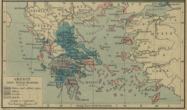 Map of Greece Under Theban Headship (362 B.C.)