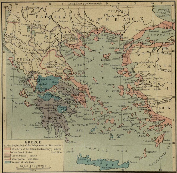 Map of Greece at the Beginning of the Peloponnesian War (431 B.C.)