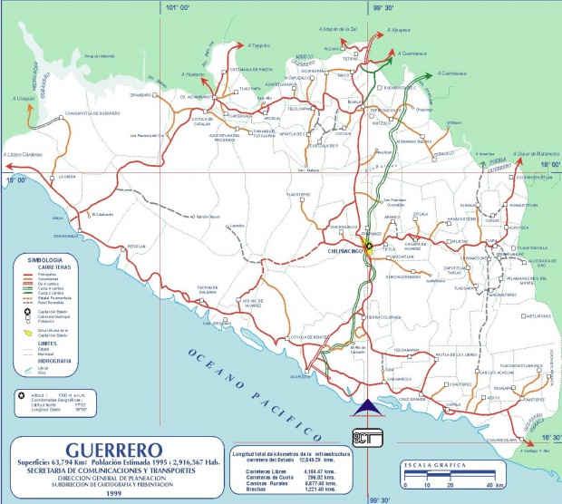 Mapa de Guerrero (Estado), Mexico