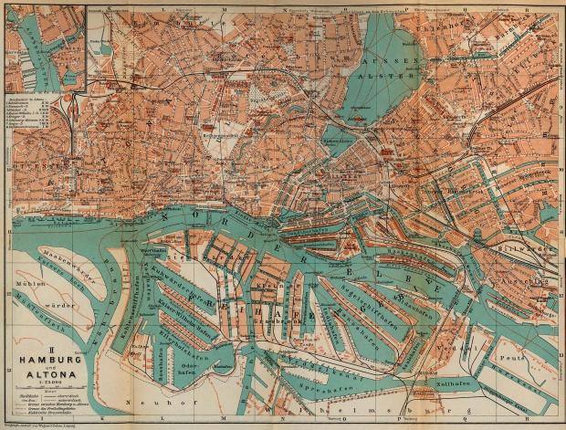 Hamburg-Altona Map, Germany 1910