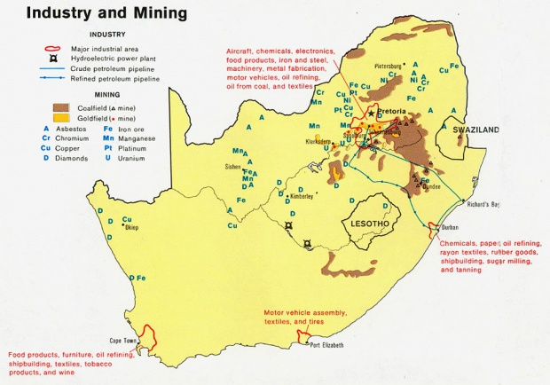 South Africa Industry and Mining Map