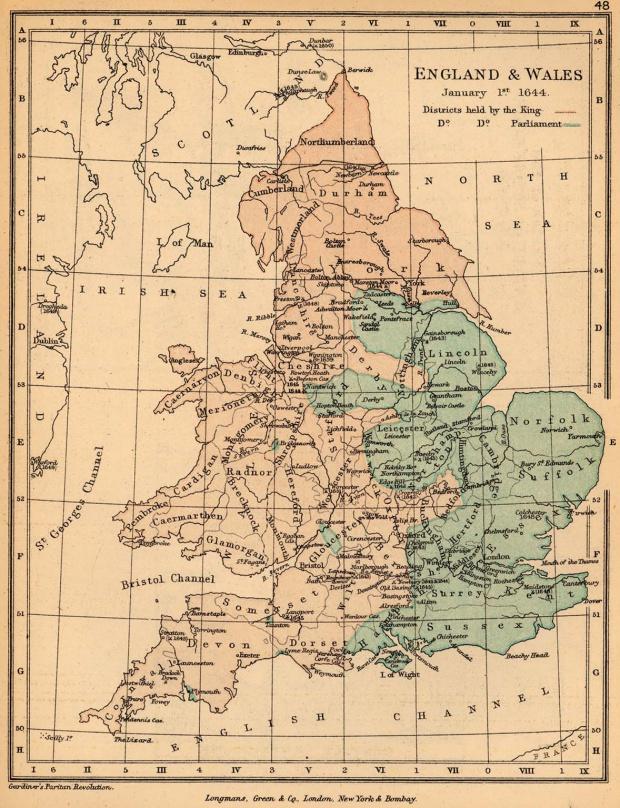 Mapa de Inglaterra y El País de Gales, Enero 1, 1644