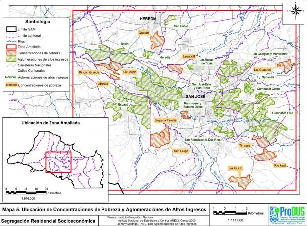 Mapa de Ingresos, Area Metropolitana de San José, Costa Rica