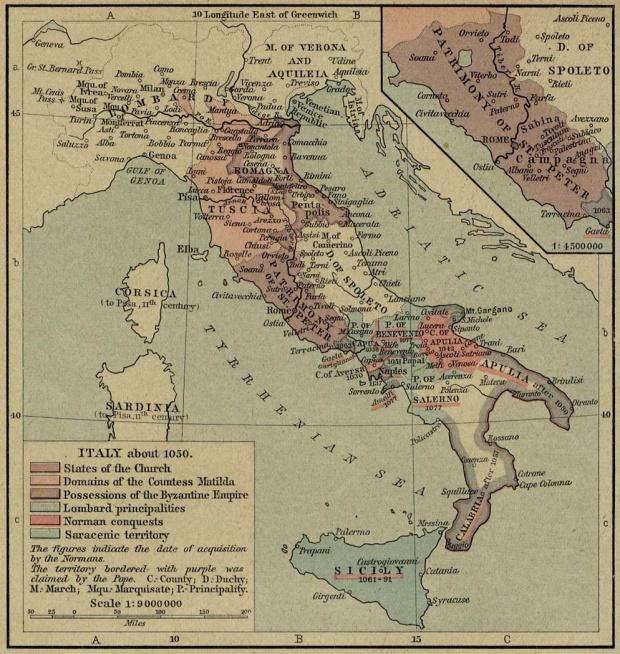 Mapa de Italia Circa 1050