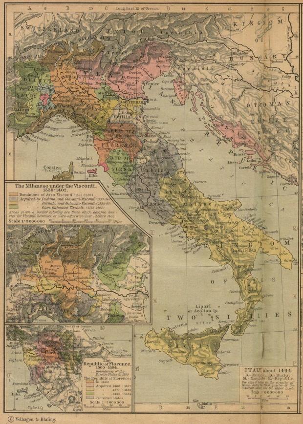 Mapa de Italia Circa 1494