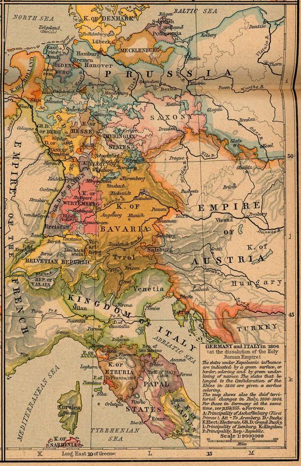 Mapa de Italia y Alemania 1806