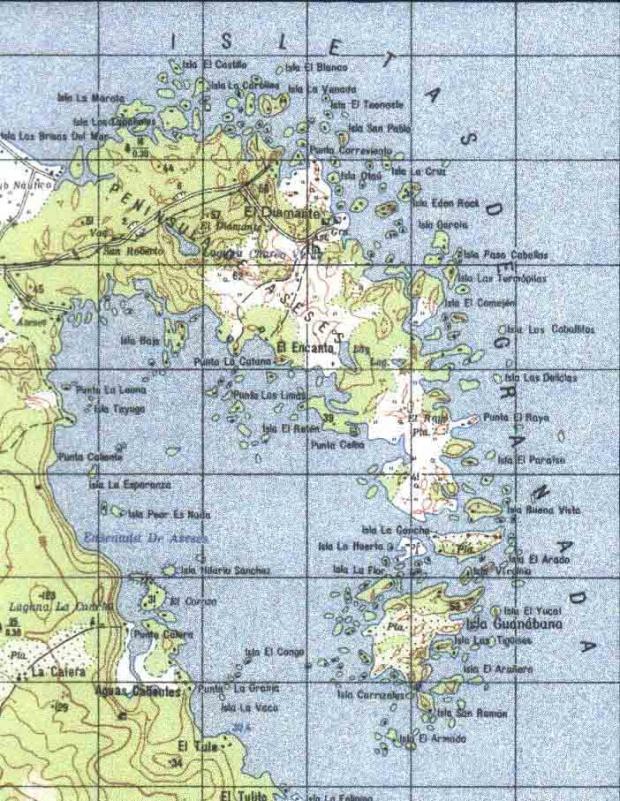 Mapa de Las Isletas de Granada, Granada, Nicaragua
