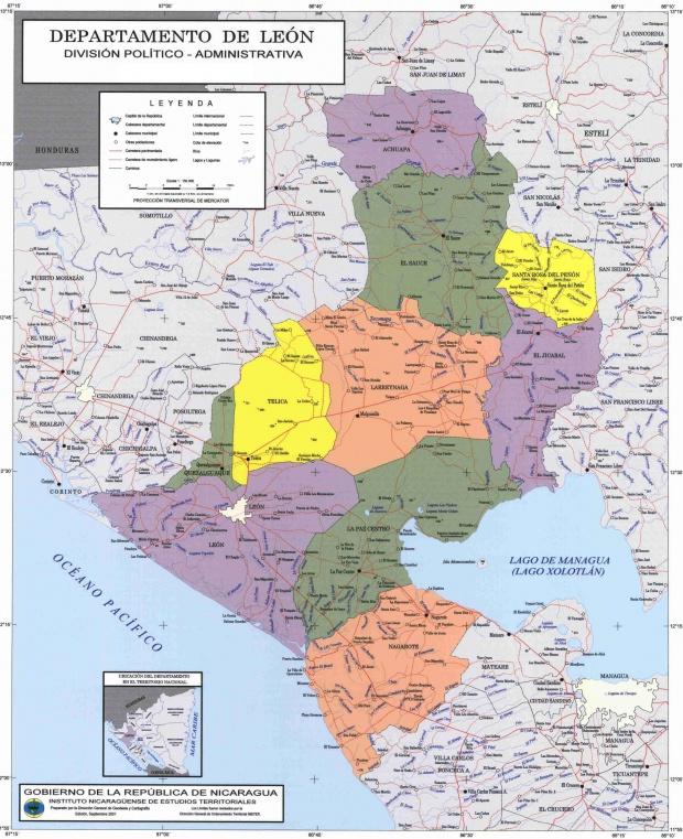 Mapa de León, División Político-Administrativa del Departamento, Nicaragua