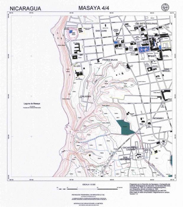 Mapa de Masaya (Cuadrante Sur-Oeste), Nicaragua