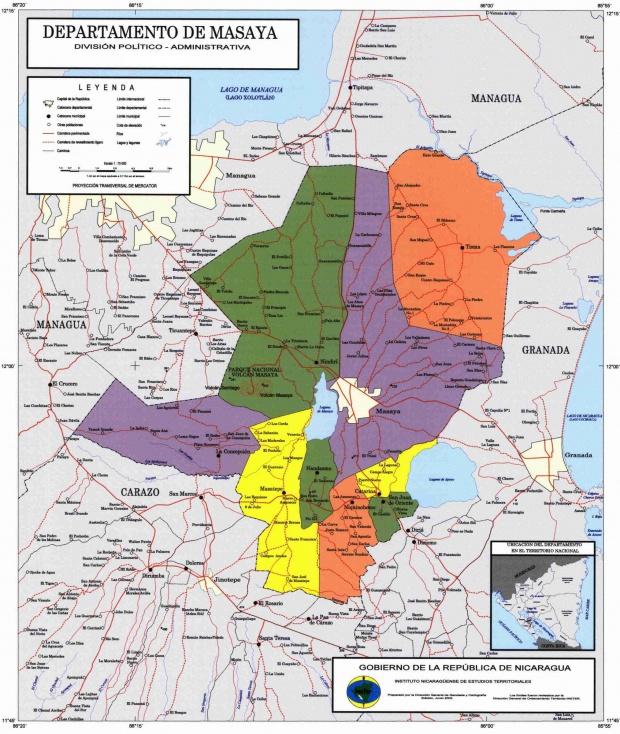 Mapa de Masaya, División Político-Administrativa del Departamento, Nicaragua