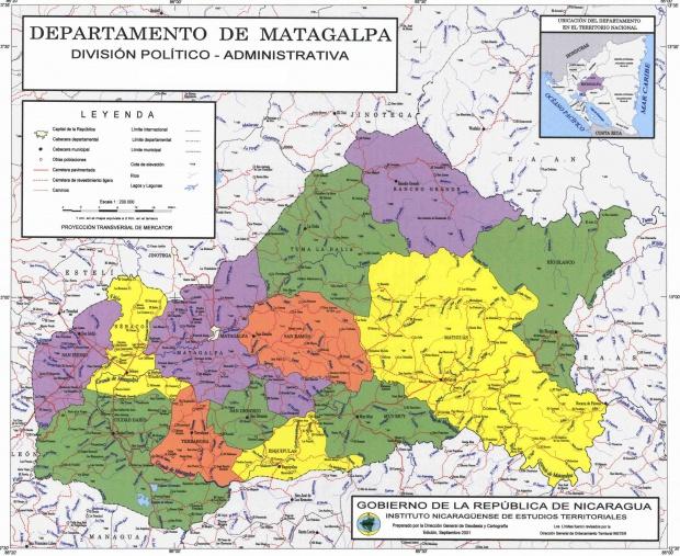Mapa de Matagalpa, División Político-Administrativa del Departamento, Nicaragua