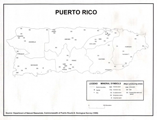 Puerto Rico Minerals Map