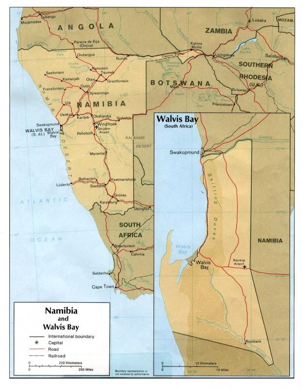 Mapa de Namibia y Walvis Bay