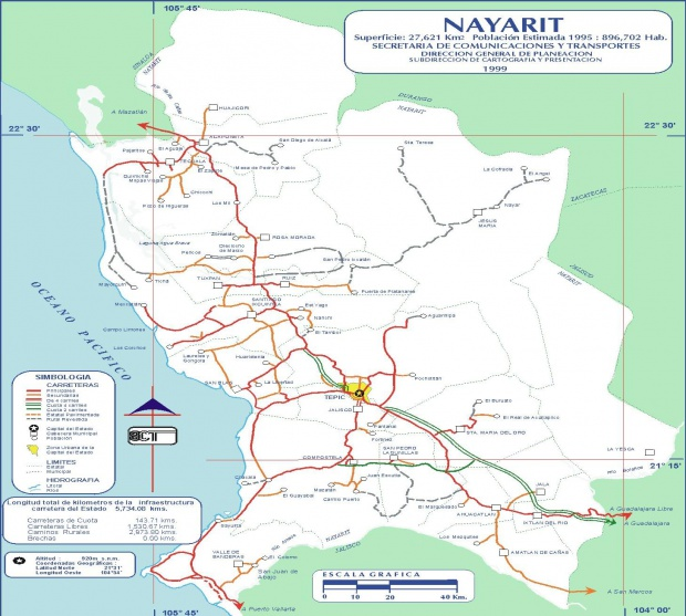 Mapa de Nayarit (Estado), Mexico