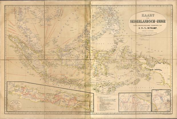 Map of Nederlandisch-Indie (Netherlands Indies) Circa 1893