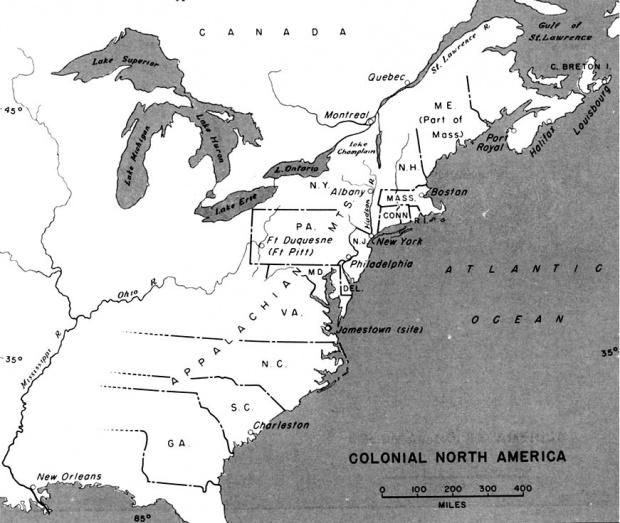 Mapa de Norte America Colonial