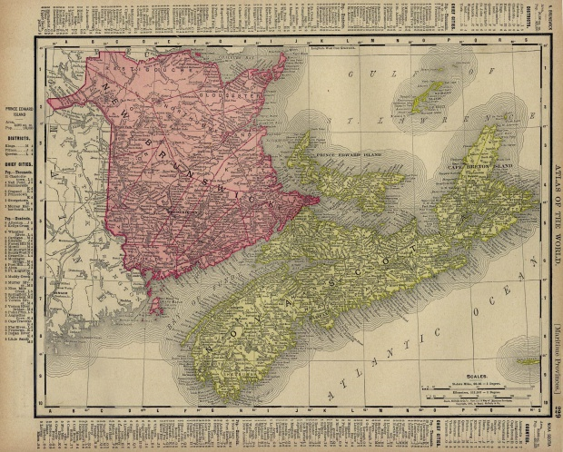 Nova Scotia, New Brunswick, Prince Edward Island Map, Canada 1895