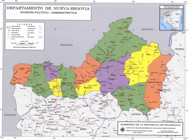 Nueva Segovia Department Administrative Political Map, Nicaragua
