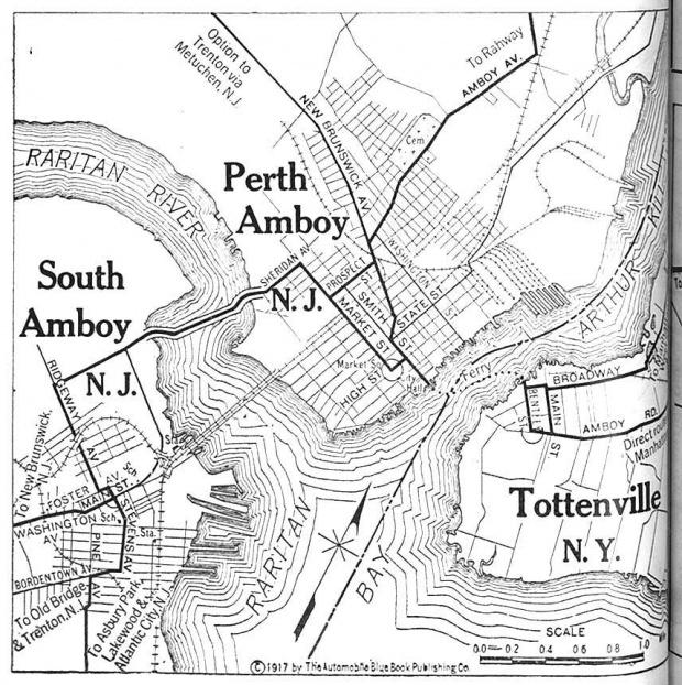 Mapa de Perth Amboy y South Amboy, Nueva Jersey con Tottenville, Nueva York 1920