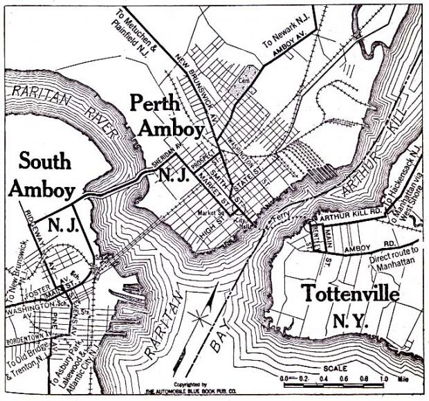 Mapa de Perth Amboy y South Amboy, Nueva Jersey y Tottenville, Nueva York 1920
