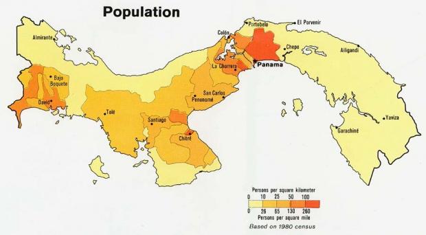 Panama Population Map