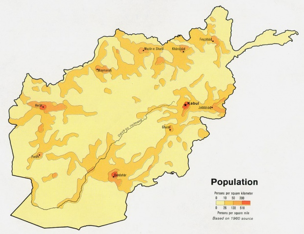 Afghanistan Population Map
