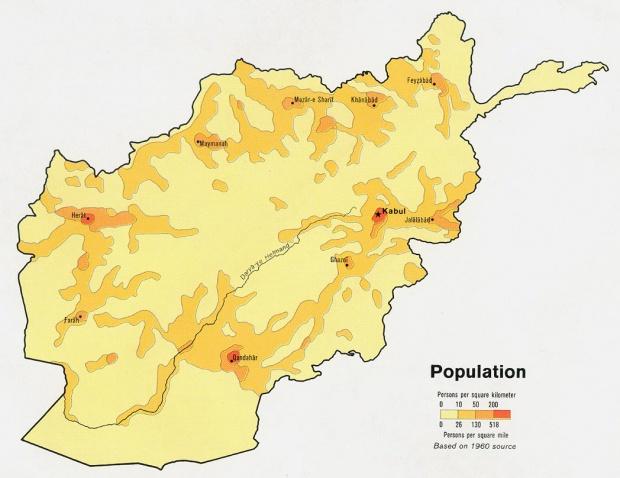 Afghanistan Population Map