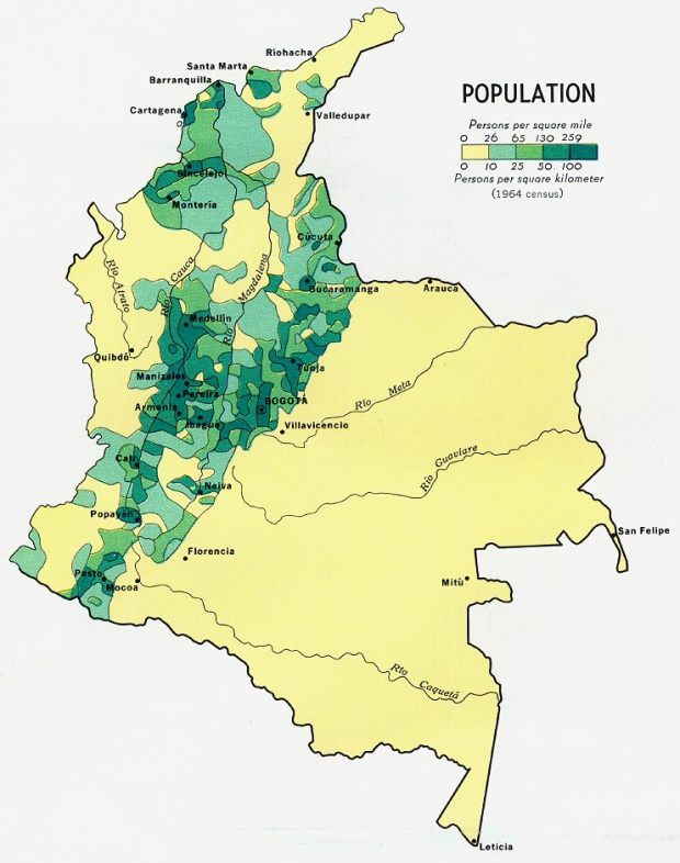Colombia Population Map