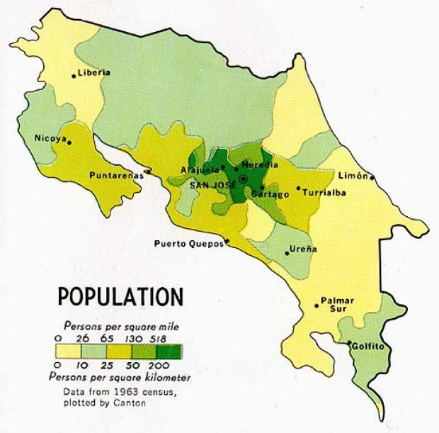 Costa Rica Population Map