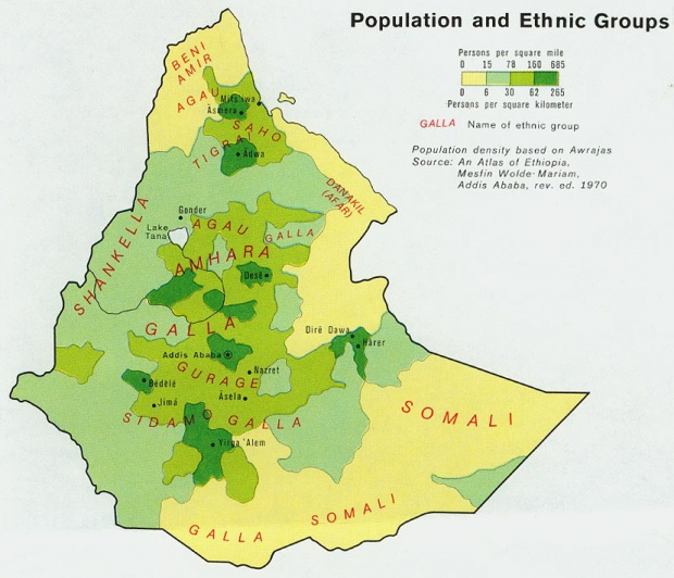 Ethiopia Population Map 1976