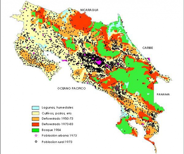Population and Deforestation Map, Costa Rica