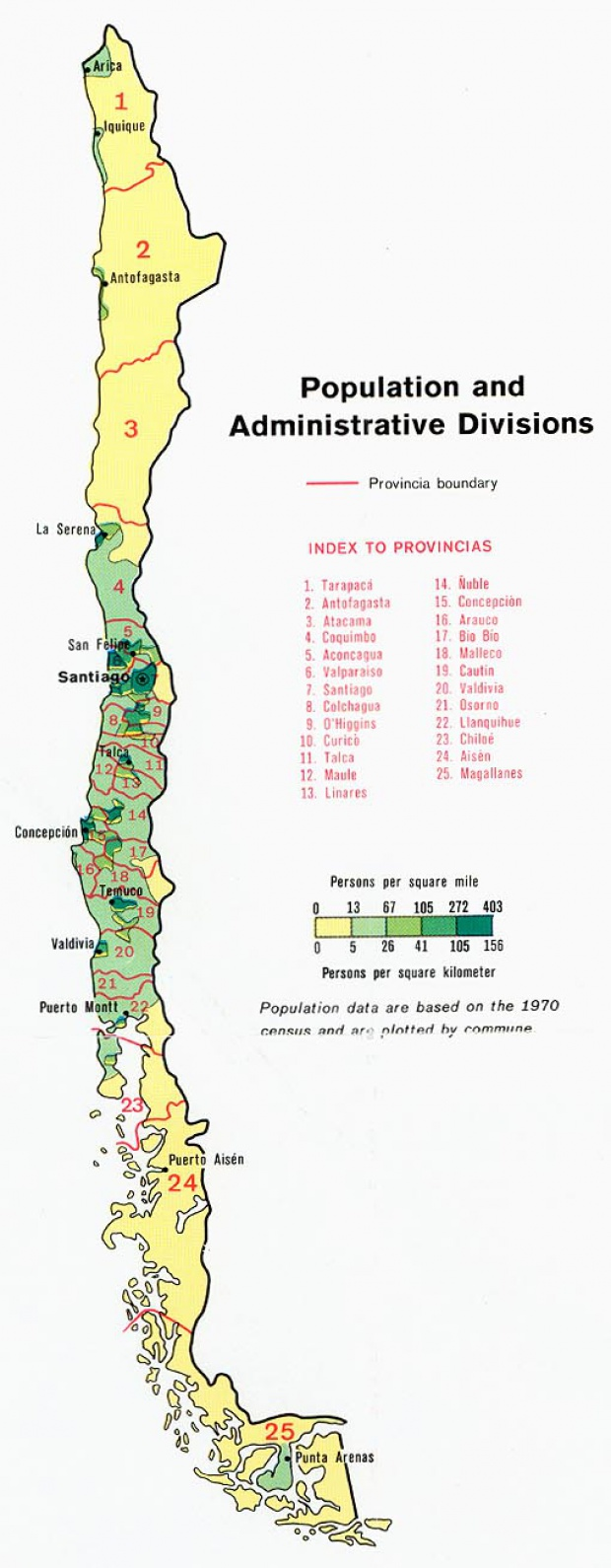 Chile Population and Administrative Divisions Map